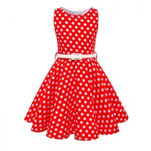 Vestido vintage de niñas con puntos