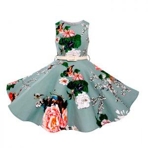 Vestido vintage con estampado floral para niñas