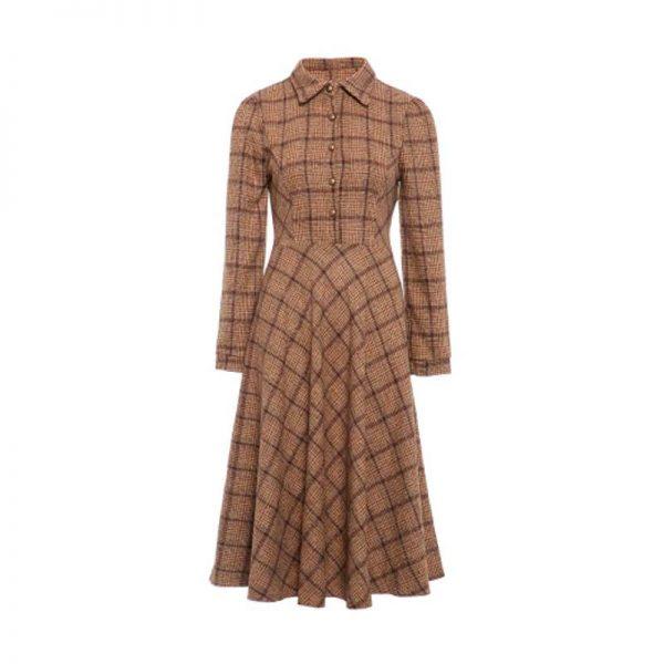 Vestido de invierno retro estilo vintage a cuadros