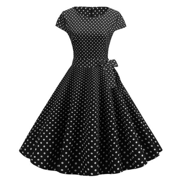 Vestido vintage Polka Dot Negro
