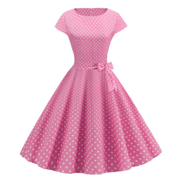 Vestido vintage Polka Dot rosado pinup