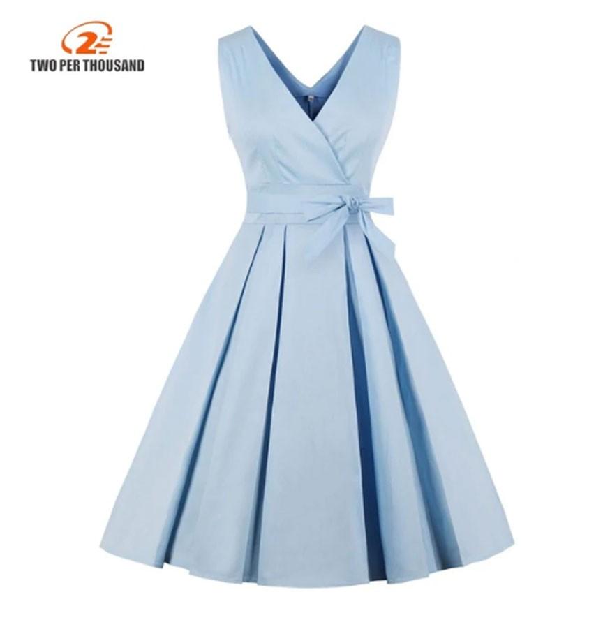 Vestido Corto Azul Claro Plisado Vintage Elegantes Two Per Thousand