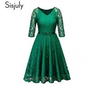 Vestido de fiesta, con encaje floral color verde