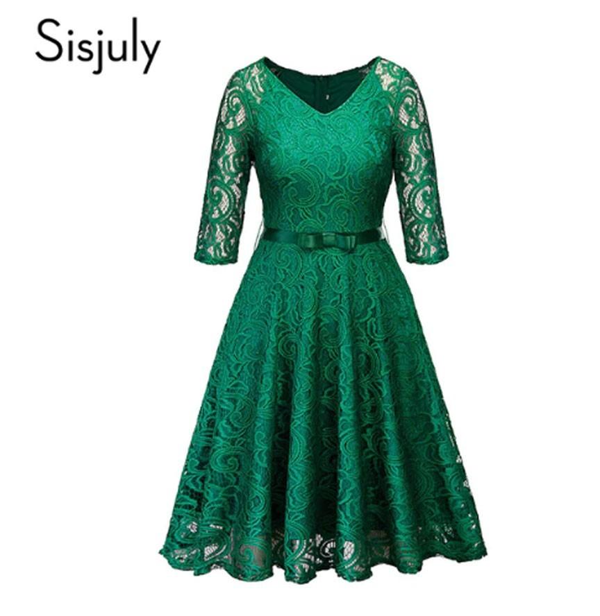 Vestido De Encaje Floral Sisjuly Retro Negro Azul Marino Azul Verde