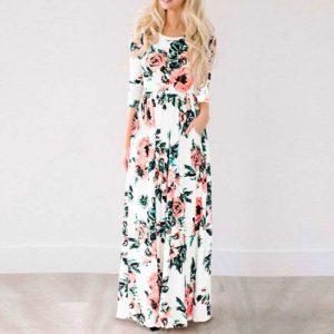 Vestido vintage largo con estampado floral