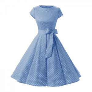 Vestido vintage color azul estilo rockabilly