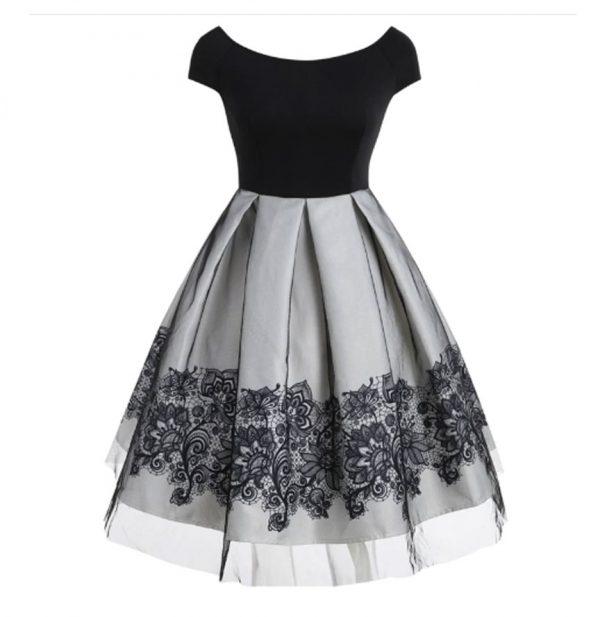 Vintage Vestido corto de fiesta color gris