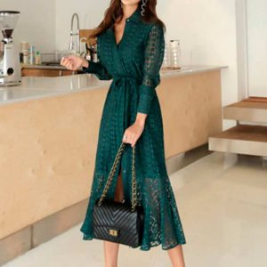 Vestido vintage largo de fiesta verde