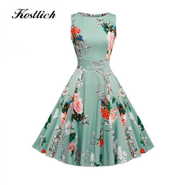 Vestido Floral, vintage años 50