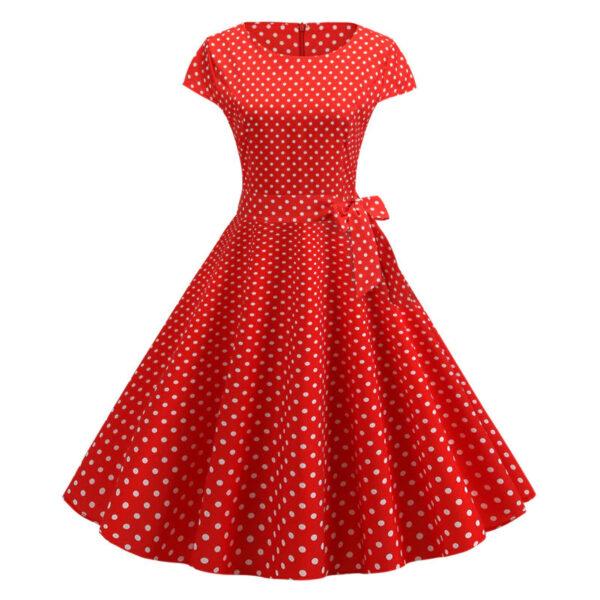 Vestido vintage de puntos polka dot rojo