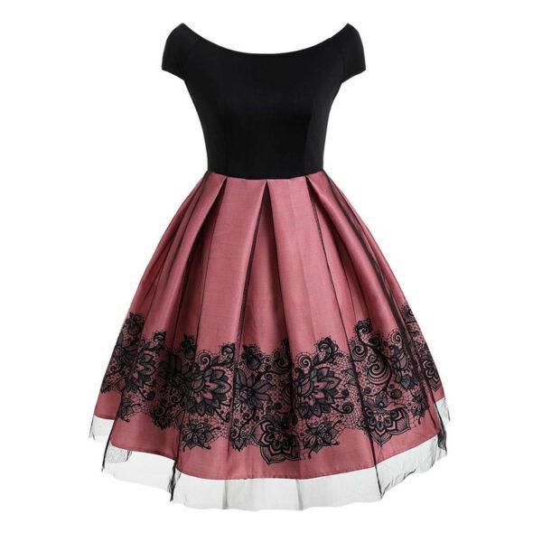 Vestido vintage rosa, encaje