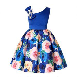 Vestido vintage de niñas con diseño floral