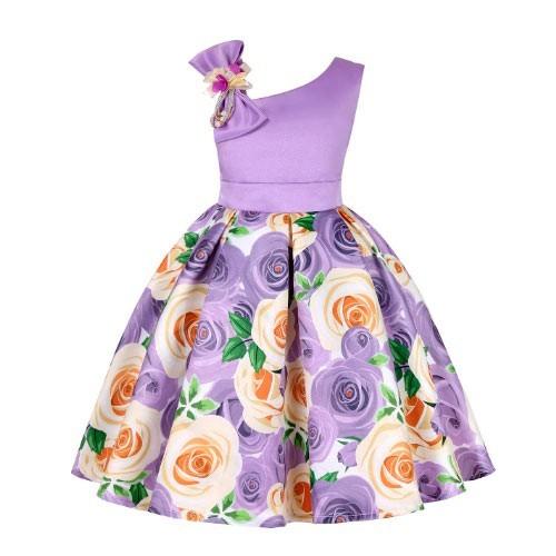 Vestido vintage con diseño floral para niñas morado