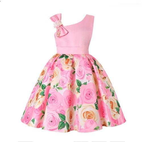 Vestido vintage con diseño floral rockabilly rosado claro