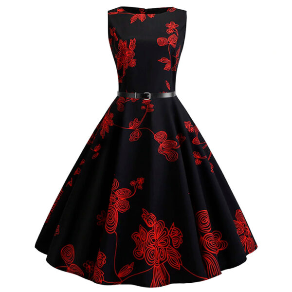 Vestido negro vintage floral