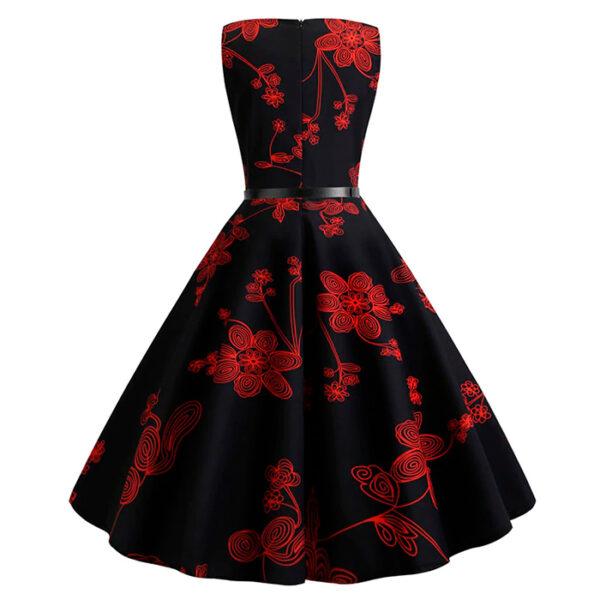 Vestido vintage de flores color negro y rojo