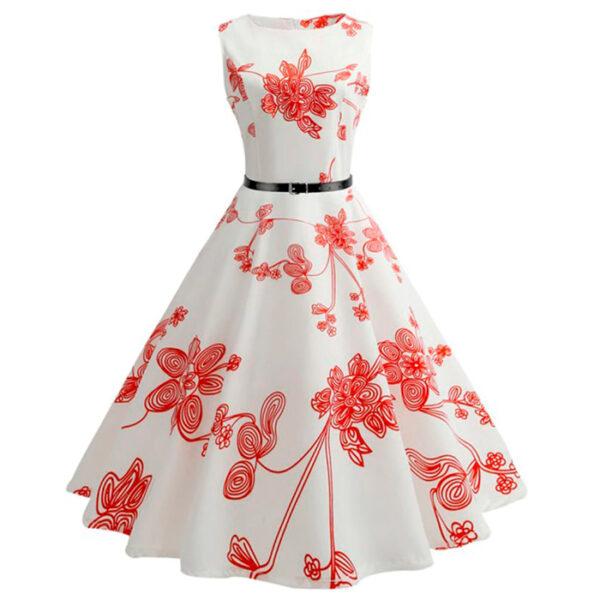 Vestido vintage pin-up floral blanco y rojo