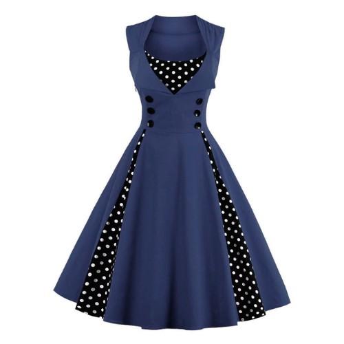 Vestido rockabilly vintage azul marino