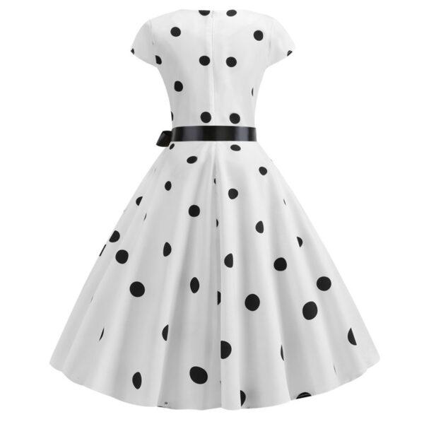 Vestido vintage retro con puntos blanco