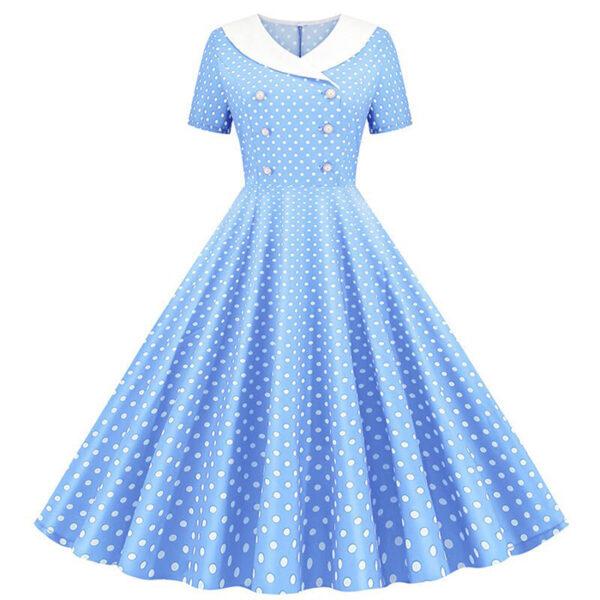 Vestido Puntos azul y blanco