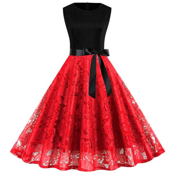 Vestido de encaje vintage retro rojo
