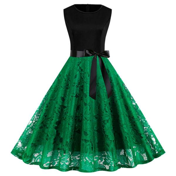 Vestido de encaje vintage retro verde