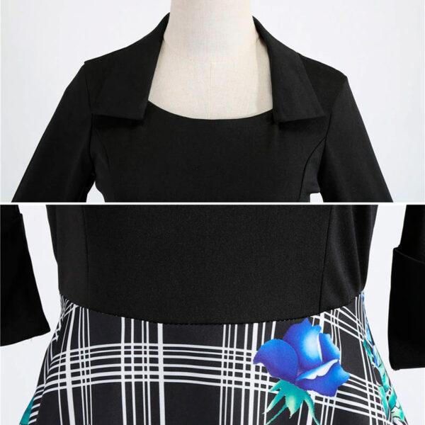 Escote vestido vintage flores azules