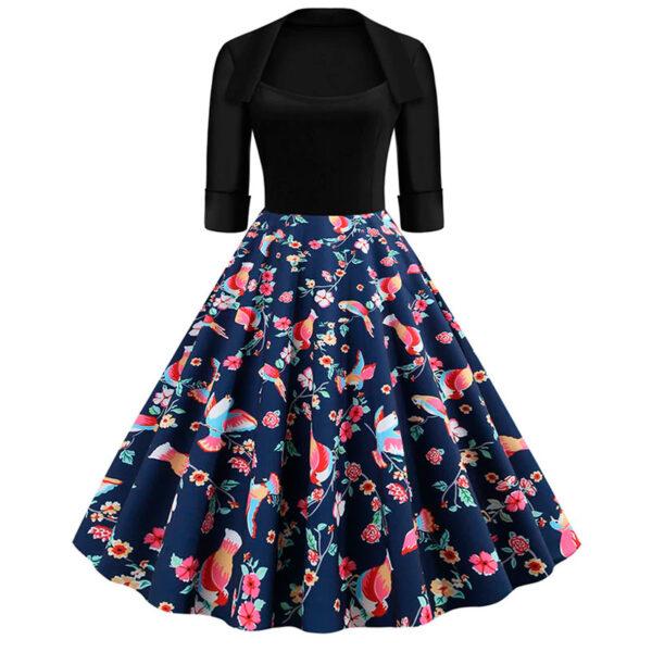 Vestido vintage azul y negro floral retro pinup