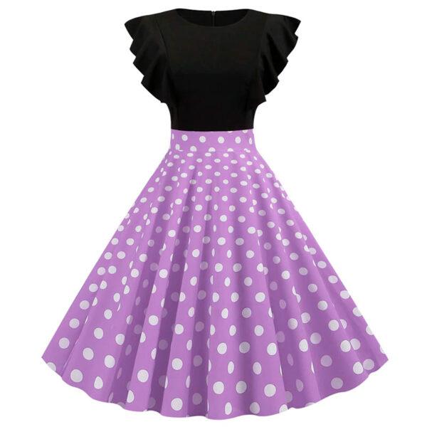Vestido vintage Polka Dot Morado
