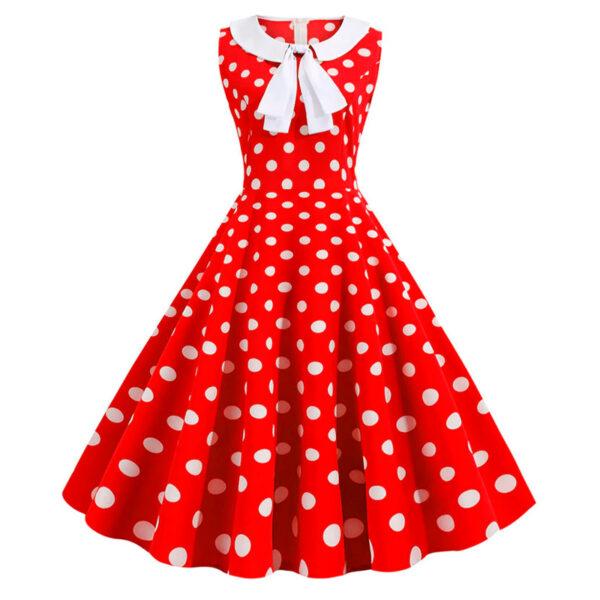 Vestido vintage Polka Dot rojo con blanco