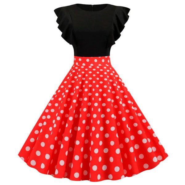 Vestido vintage Polka Dot negro y rojo retro pinup