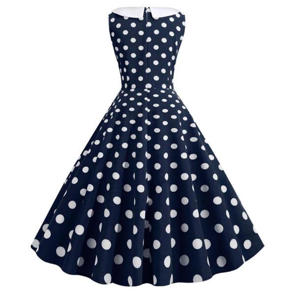 Vestido vintage Polka Dot azul oscuro y blanco