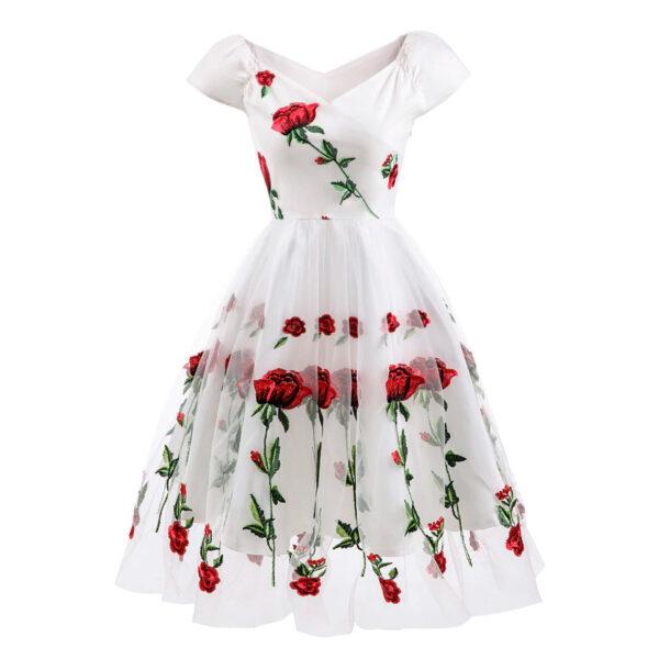 Vestido Vintage bordado flores de noche vintage retro