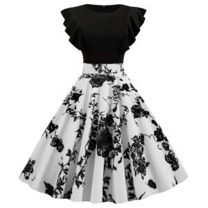 Vestido vintage rockabilly blanco y negro