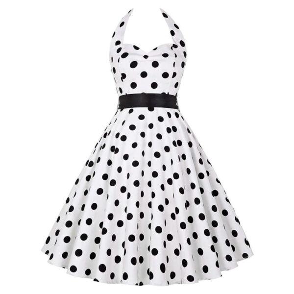Vestido vintage blanco Polka Dot