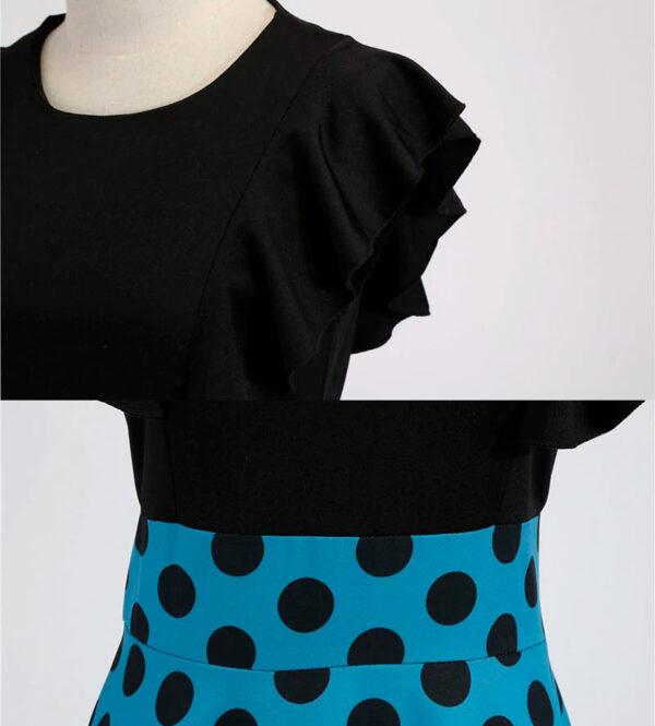 Escote y costura vestido vontage polka dot