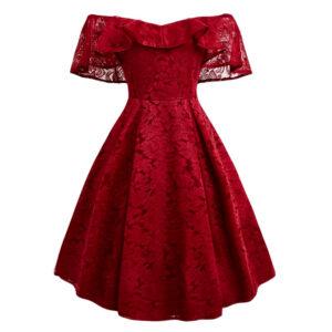 Vestido vintage rojo de encaje fiesta