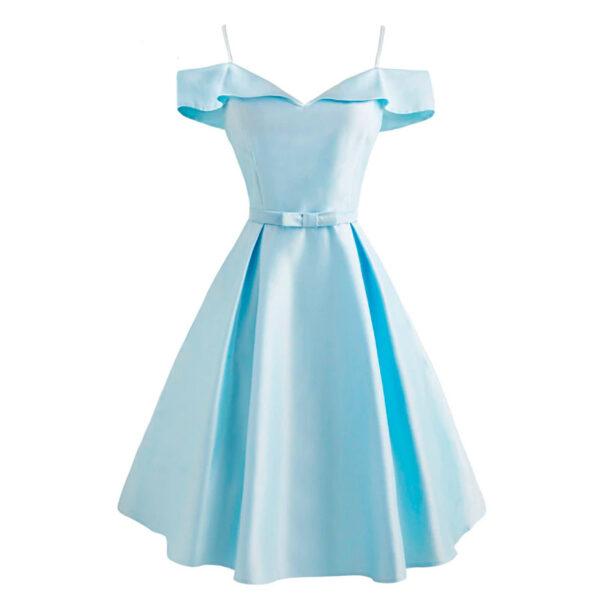 vestido vintage azul elegante brillante