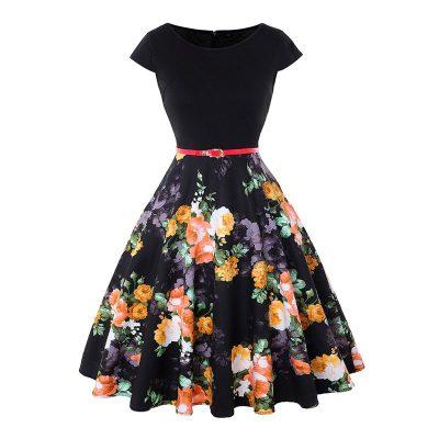 Vestido vintage casual negro con flores