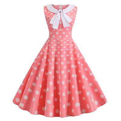 Vestido vintage Polka Dot rosado