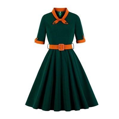 Vestido vintage de invierno verde